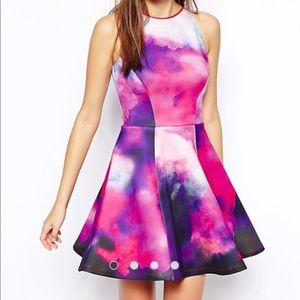 ted baker Nin neoprene dress in summer dusk